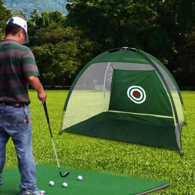 Dioche Golf Practice Net, Green Nylon Mesh Golf Folding Net Chips Collector Support Bag Training Accessories